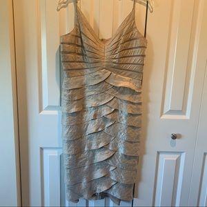 Adrianna Papell Gold Shutter Pleat Cocktail Dress